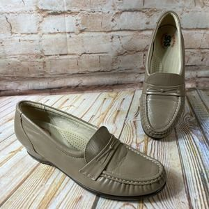 SAS Beige Leather Low Heel Wedge Loafers Shoes